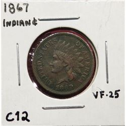1867 Indian Head Cent VF25. $100-200