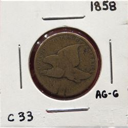 Group of four coins: 1858 Flying Eagle Cent About good-good.  1865 2 Cent Very good. 1865 2 Cent Ver