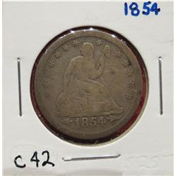 1854 Seated Liberty Quarter VG10. $15-25