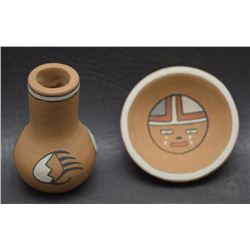 TWO POJOAQUE  POTTERY ITEMS (GUTIERREZ)