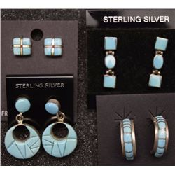 FOUR PAIR NAVAJO EARRINGS