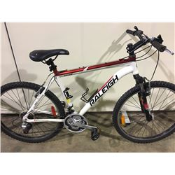 WHITE RALEIGH 21 SPEED FRONT SUSPENSION MOUNTAIN BIKE