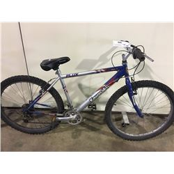 2 BIKES: GREY KAWASAKI MOUNTAIN BIKE & BLUE SPORTEK MOUNTAIN BIKE