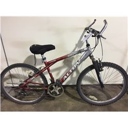 2 BIKES: RED ALTON FRONT SUSPENSION MOUNTAIN BIKE & BLUE UNIVEGA MOUNTAIN BIKE