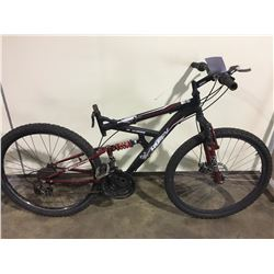 2 BIKES: BLACK HUFFY FULL SUSPENSION MOUNTAIN BIKE & WHITE SPORTEK FULL SUSPENSION MOUNTAIN BIKE