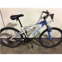 2 BIKES: WHITE NAKAMURA FULL SUSPENSION MOUNTAIN BIKE & BLACK RALEIGH FRONT SUSPENSION MOUNTAIN BIKE