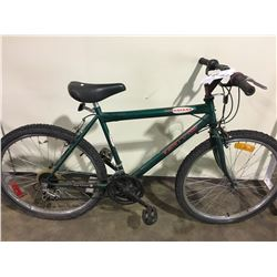 2 BIKES: GREEN VENTURE MOUNTAIN BIKE & RED BONELLI FULL SUSPENSION MOUNTAIN BIKE