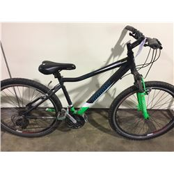 2 BIKES: GREY INFINITY FRONT SUSPENSION MOUNTAIN BIKE & BLUE NO NAME MOUNTAIN BIKE