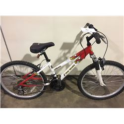 2 BIKES: WHITE MUD HONEY MOUNTAIN BIKE & GREY MACABRE STUNT BIKE