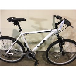 WHITE REEBOK SPHERE 18 SPEED FRONT SUSPENSION MOUNTAIN BIKE