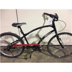 2 BIKES: BLACK SUPERCYCLE CRUISER BIKE & BLUE ARASHI FULL SUSPENSION MOUNTAIN BIKE