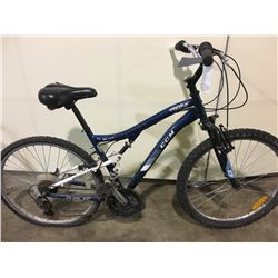 2 BIKES: BLUE CCM FRONT SUSPENSION MOUNTAIN BIKE & GREY TRIBAL FRONT SUSPENSION MOUNTAIN BIKE