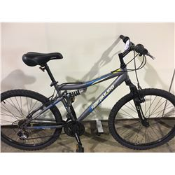2 BIKES: GREY NAKAMURA FULL SUSPENSION MOUNTAIN BIKE & RED TREK KIDS BIKE