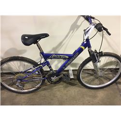 2 BIKES: BLUE DUNLOP FRONT SUSPENSION MOUNTAIN BIKE & BLUE MOUNTAIN TOUR MOUNTAIN BIKE