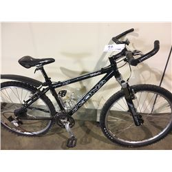 2 BIKES: BLACK 21 SPEED MOUNTAIN BIKE & BLACK KONA KULA FRONT SUSPENSION MOUNTAIN BIKE
