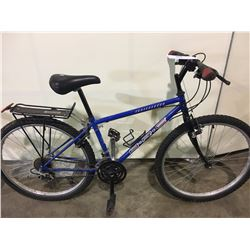 2 BIKES: BLUE BRC MOUNTAIN BIKE & ORANGE RALEIGH FULL SUSPENSION MOUNTAIN BIKE