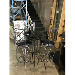 BRUSHED NICKEL & BLACK 4 PCS GLASS TOP BISTRO TABLE ( 3 SWIVEL CHAIRS & GLASS TOP TABLE )