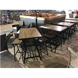 DARK METAL AND WOOD 3 PCS BISTRO TABLE ( 2 STOOLS & RECTANGULAR TABLE )