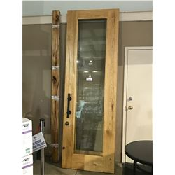 9 FT SOLID OAK FRAMED GLASS DOUBLE DOOR WITH HARDWARE & FRAMING