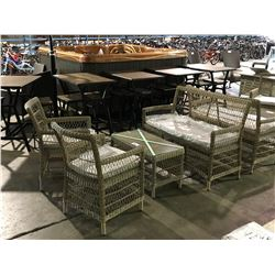 GLORIA NATURAL 4 PCS WOVEN PATIO CHAT SET ( DOUBLE SEAT, 2 CHAIRS & COFFEE TABLE )
