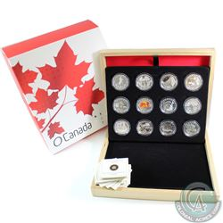 2013 Canada $10 Complete 12-coin O Canada Series Subscription Set (Niagara Falls coin capsule has a