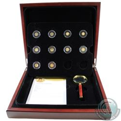 The World's Smallest Gold 10-coin Collection issued by the RCM in Deluxe Display Box with Magnifying