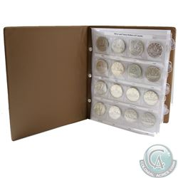 1935-1986 Canada Silver and Nickel Dollars Collection in Brown Vinyl Folder. You will receive 28x Si