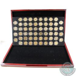 1999-2009 24k Gold Plated USA Statehood Quarter Collection in Deluxe Display Case with COA. 56 coins