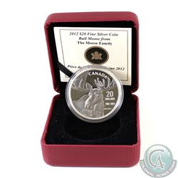 2012 Canada $20 Bull Moose by Robert Bateman Fine Silver Coin (Capsule lightly scratched & no outer