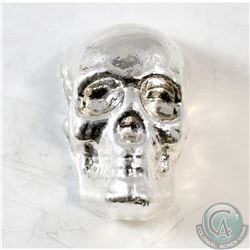 3oz. Monarch Hand Poured .999 Fine Silver Skull (TAX Exempt)