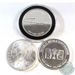 "3x Miscellaneous 1oz .999 Fine Silver Rounds. You will receive ""World Famous Gold and Silver Pawn Sh"