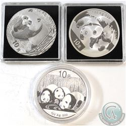 3x China Panda 1oz .999 Fine Silver Coins Dated 2001, 2008 & 2013. 3pcs (TAX Exempt)