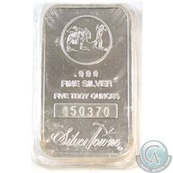 Silvertowne 5oz .999 Fine Silver Bar Sealed in Plastic (TAX Exempt)