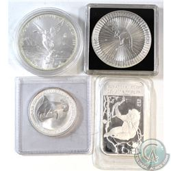 Lot of 4x .999 Fine Silver Coins/Bar. You will receive 2016 Australia 1oz Kangaroo, 2012 Mexico Libe