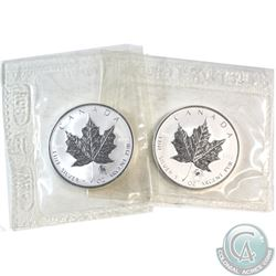 Pair of 2004 Leo & Cancer Privy Silver Maple Leafs Sealed in Original Pliofilm Plastic (toned). 2pcs