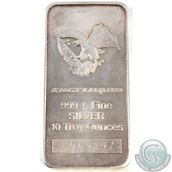 Vintage Engelhard 10oz 999+ Fine Silver Bar with Eagle Design (Lightly toned) (TAX Exempt)
