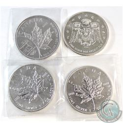 4x Canada 1oz Silver Maple Leafs. You will receive 2008 Vancouver Olympics, 2009 Raven, 2009 & 2010