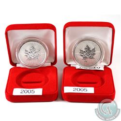 Pair of 2005 Canada VE Days & VJ Day Privy Silver Maple Leafs. Coins come encapsulated in red displa