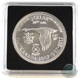 1867-1967 Counter-Stamped Silver Dollar Commemorating the 150th Anniversary of Canada & 100th Annive