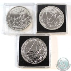 3x Great Britain 2 Pound 1oz Silver Britannia Dated 2012, 2013 & 2015 in Capsules (2013 lightly tone