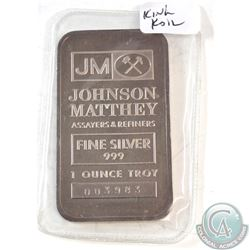 RARE 1oz 'King Koil' .999 Fine Silver Johnson Matthey Bar (The bar is toned). TAX Exempt