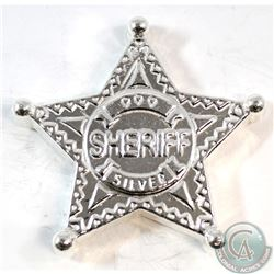 5oz Monarch Precious Metals Hand Poured Fine Silver Sheriff Star (TAX Exempt)