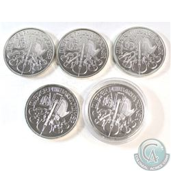 5x 2015 Austria .999 Fine Silver Philharmonics (Coins are lightly toned). 5pcs (TAX Exempt)