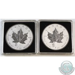 2012 Dragon & 2013 Snake Privy .9999 Fine 1oz Silver Maple Leafs in Capsules (2013 is lightly toned)