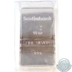 Scotiabank 10oz .999 Fine Silver Bar Sealed in Plastic (Bar is toned). TAX Exempt