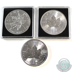 3x Canada $5 1oz .9999 Fine Silver Maple Leafs Dated 2013, 2014 & 2016 (Coins are toned or lightly t