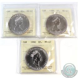 3x Canada $5 1oz .9999 Fine Silver Maple Leafs ICCS Certified MS-67 Dated 1988-1990 (Coins are light