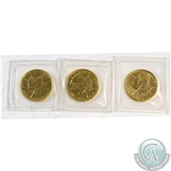 Lot of 3x Canada 1/10oz Fine Gold Maple Leafs Sealed in Plastic Dated 1985-1987. 3pcs (TAX Exempt)