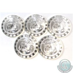 5x Silvertowne 1oz .999 Fine Silver Rounds (Some coins are toned). 5pcs (TAX Exempt)