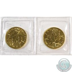 Pair of 1999 Canada 1/10oz Fine Gold 20th Anniversary Privy Mark Coins Sealed in Original Plastic. 2